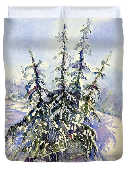 Heavy Snow In The Cascades Duvet Cover