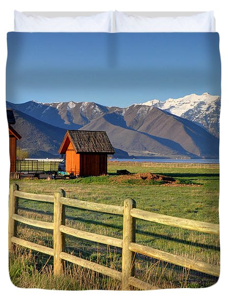 Heber Valley Ranch House - Wasatch Mountains Duvet Cover by Gary Whitton