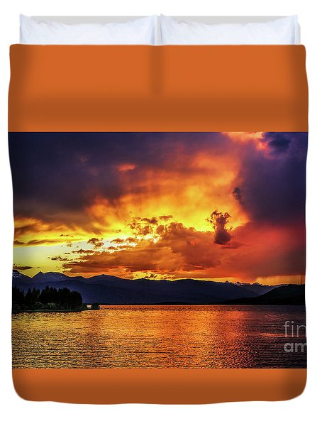 Hebgen Lake Sunset Duvet Cover