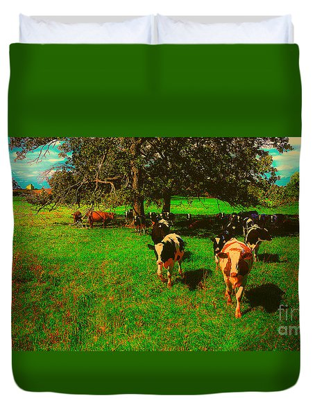 Hebron Il Cows Pasture Duvet Cover