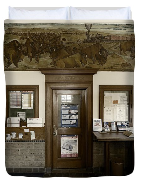 Hebron Nebraska Post Office Mural Duvet Cover