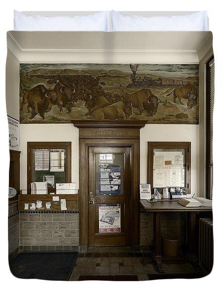 Hebron Nebraska Post Office Mural Duvet Cover