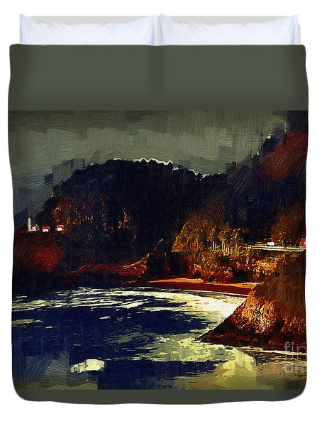 Duvet Cover featuring the digital art Heceda Complex In Gothic by Kirt Tisdale