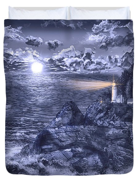 Heceta Head Light Blue Duvet Cover