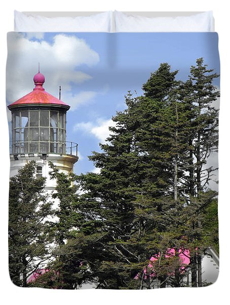 Heceta Head Lighthouse - Oregon's Iconic Pacific Coast Light Duvet Cover by Christine Till