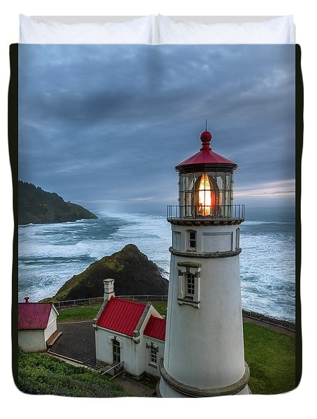 Heceta Head Lighthouse Evening Duvet Cover