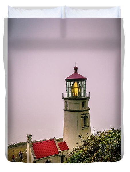 Heceta Head Lighthouse In The Fog Duvet Cover