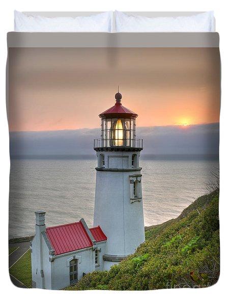Heceta Lighthouse At Sunset Duvet Cover by Martin Konopacki