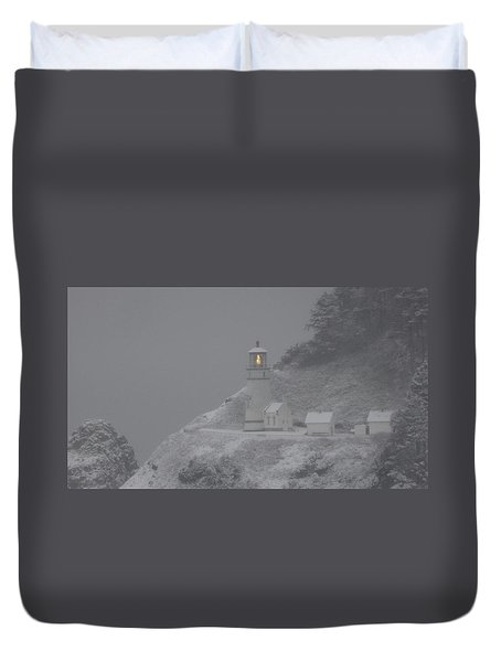 Heceta Lighthouse Snowstorm Duvet Cover