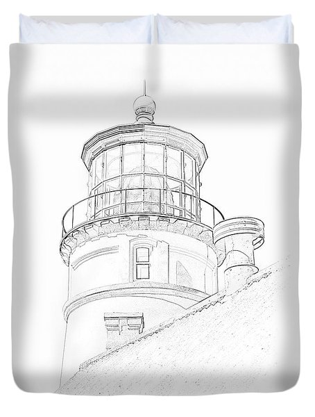 Hecitia Head Lighthouse Sketch Duvet Cover