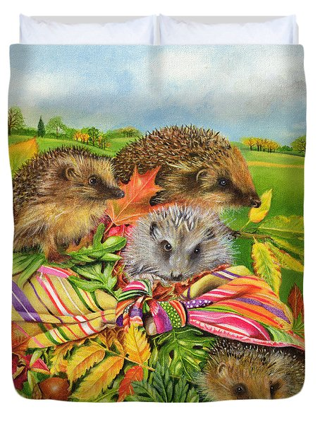 Hedgehogs Inside Scarf Duvet Cover by EB Watts