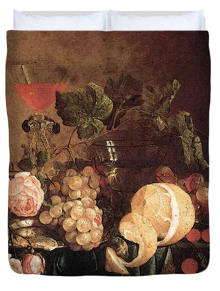Heem Jan Davidsz De Still Life With Flowers And Fruit Duvet Cover