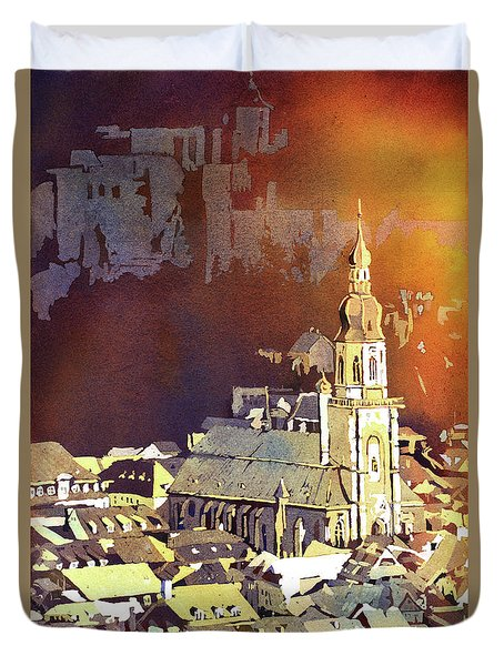 Duvet Cover featuring the painting Heidelberg Sunset- Germany by Ryan Fox