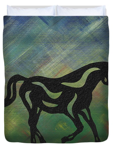 Duvet Cover featuring the painting Heinrich - Abstract Horse by Manuel Sueess