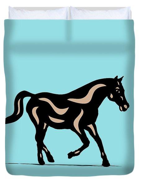 Heinrich - Pop Art Horse - Black, Hazelnut, Island Paradise Blue Duvet Cover