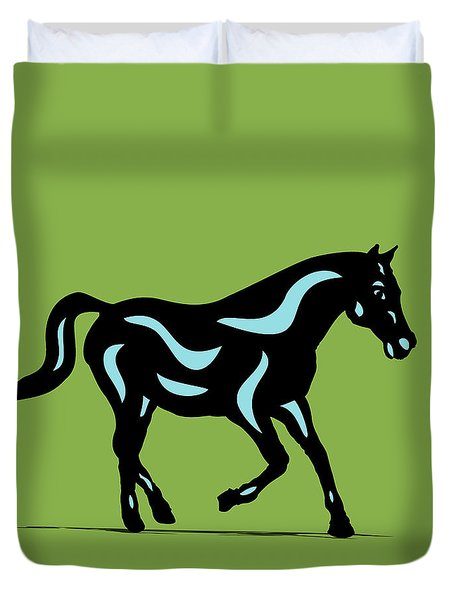 Heinrich - Pop Art Horse - Black, Island Paradise Blue, Greenery Duvet Cover