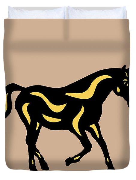 Heinrich - Pop Art Horse - Black, Primrose Yellow, Hazelnut Duvet Cover