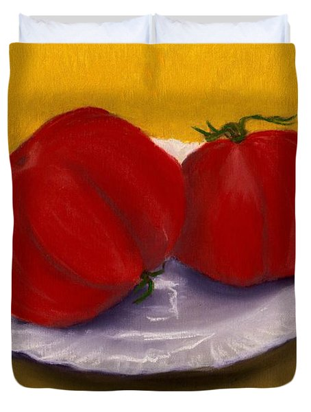 Duvet Cover featuring the drawing Heirloom Tomatoes by Anastasiya Malakhova