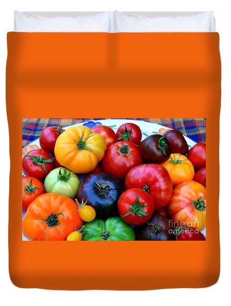 Duvet Cover featuring the photograph Heirloom Tomatoes by Vivian Krug