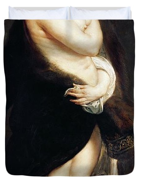 Helena Fourment In A Fur Wrap Duvet Cover by Rubens