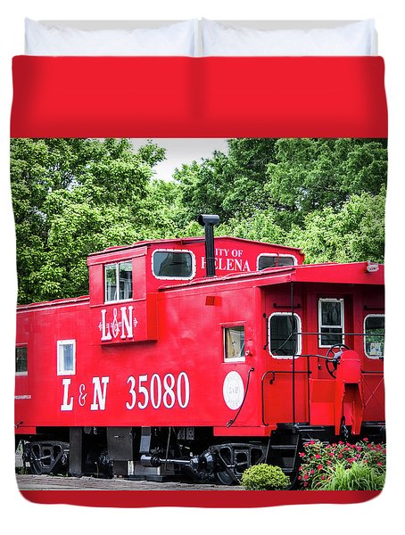 Duvet Cover featuring the photograph Helena Red Caboose by Parker Cunningham