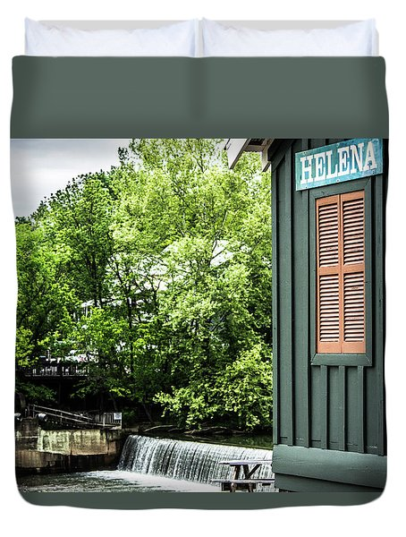 Duvet Cover featuring the photograph Helena Sign By Buck Creek by Parker Cunningham