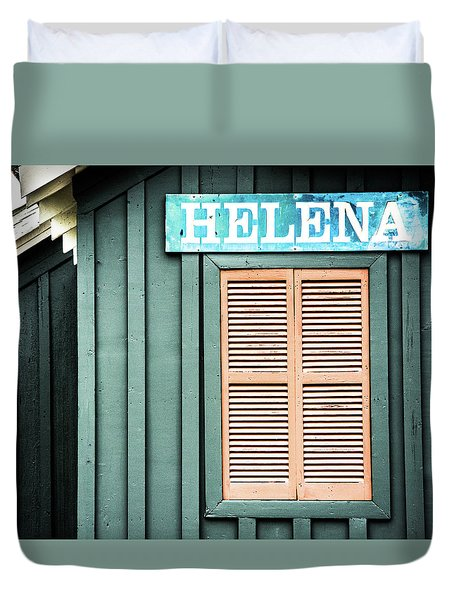 Duvet Cover featuring the photograph Helena Sign On A Spring Day by Parker Cunningham