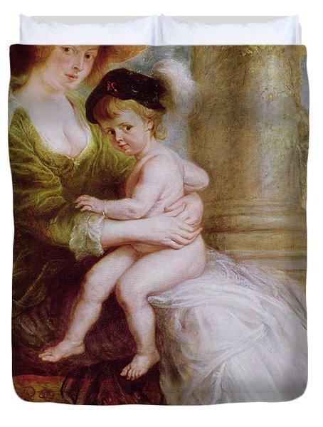 Helene Fourment And Her Son Frans Duvet Cover by Rubens