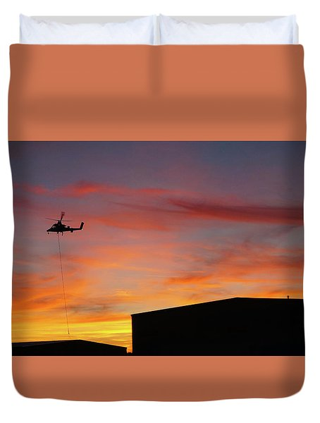 Helicopter And The Sunset Duvet Cover by Angi Parks