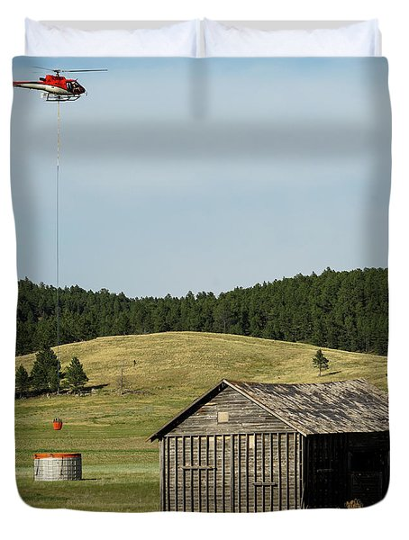 Duvet Cover featuring the photograph Helicopter Dips Water At Heliwell by Bill Gabbert