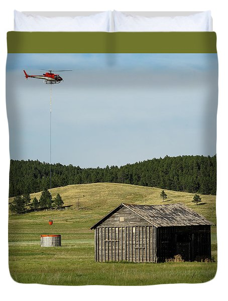 Helicopter Dips Water At Heliwell Duvet Cover