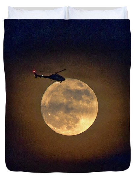 Helicopter Moon And Clouds I Duvet Cover