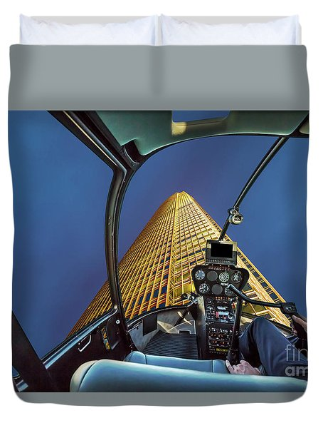 Helicopter On Skyscaper Facade Duvet Cover
