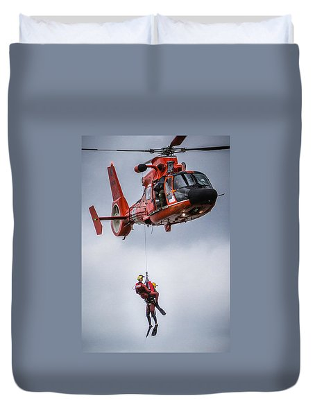 Duvet Cover featuring the photograph Helicopter Rescue by Gregory Daley  PPSA
