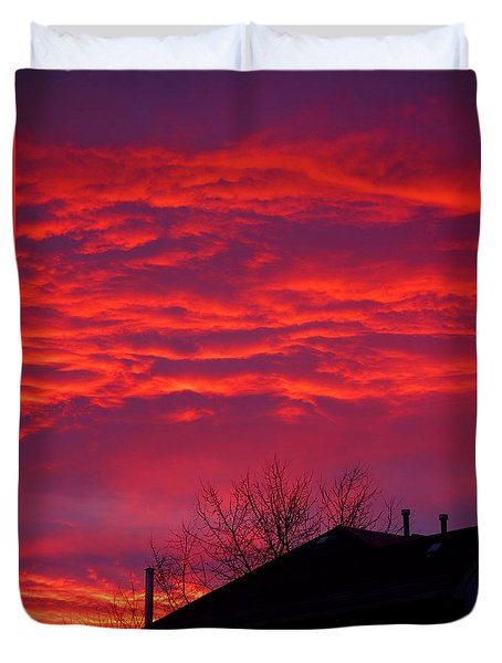 Duvet Cover featuring the photograph Hell Over Ontario by Valentino Visentini