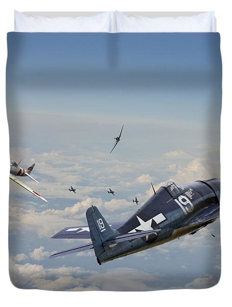 Hellcat F6f - Duel In The Sun Duvet Cover by Pat Speirs