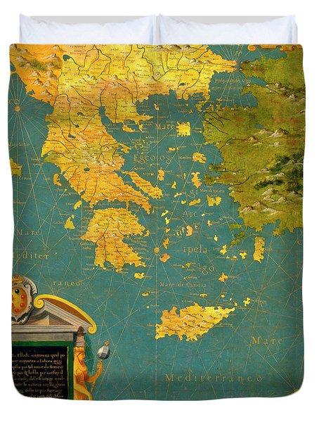 Hellenic Peninsula Greece, Albania, Bosnia And Bulgaria Duvet Cover