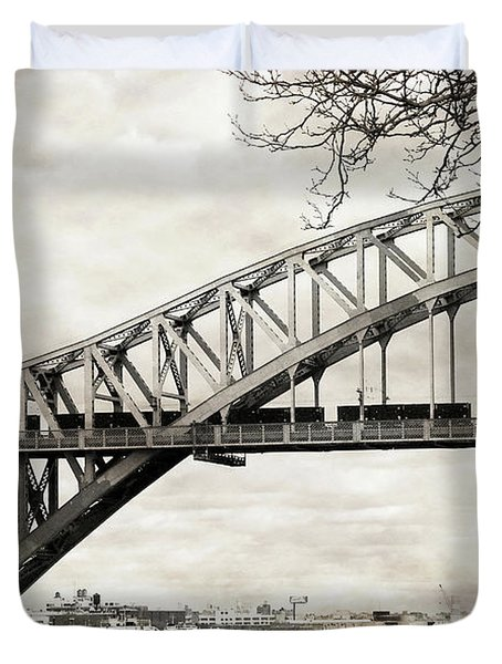 Hellgate Bridge In Sepia Duvet Cover
