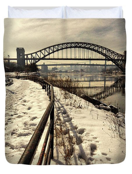 Hellgate Bridge In Winter Duvet Cover