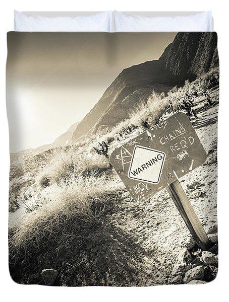 Hellhole Canyon Warning Duvet Cover