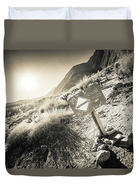 Duvet Cover featuring the photograph Hellhole Canyon Warning by T Brian Jones