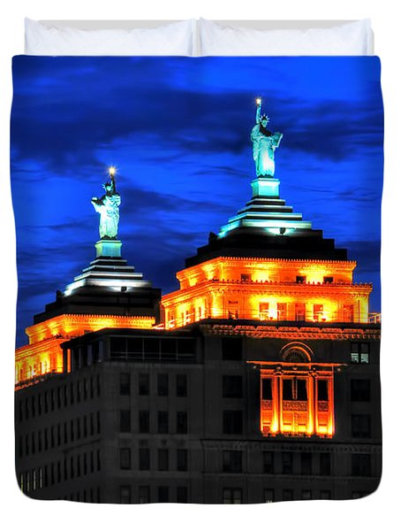 Hello Goodbye In Stormy Skies Atop The Liberty Building Duvet Cover by Michael Frank Jr