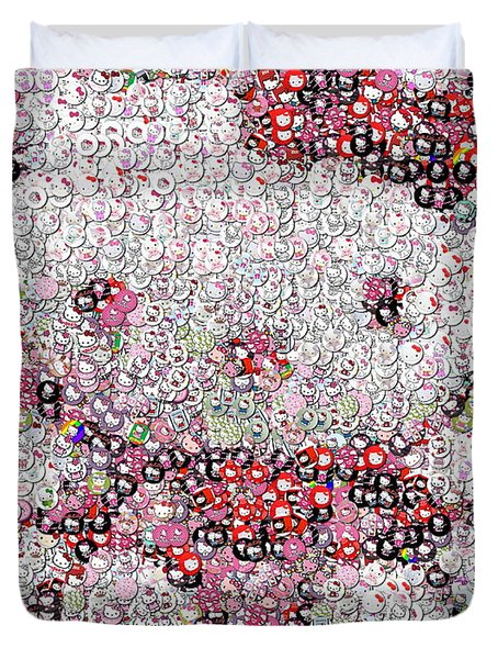 Hello Kitty Button Mosaic Duvet Cover by Paul Van Scott