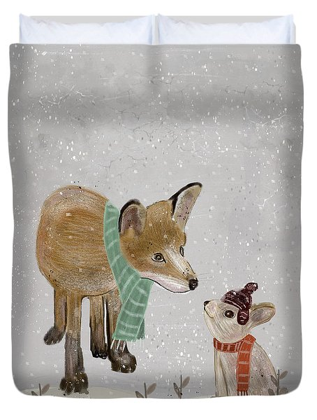 Duvet Cover featuring the painting Hello Mr Fox by Bri B