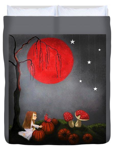 Red Moon By Sannel Larson Duvet Cover