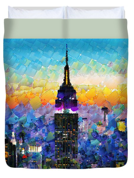 Hello New York Duvet Cover by Sir Josef - Social Critic -  Maha Art