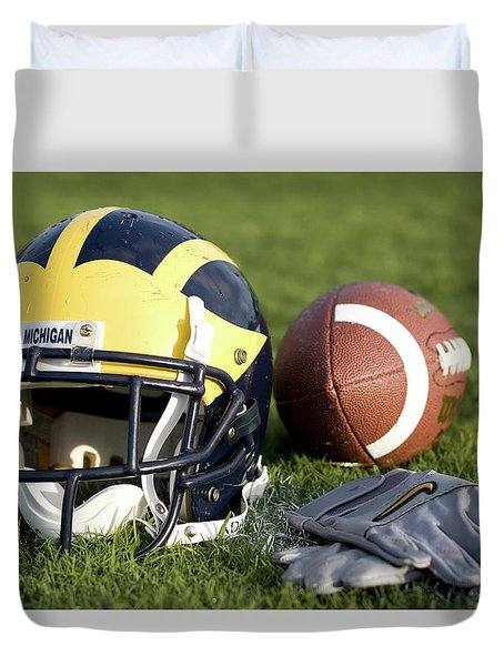 Helmet On The Field With Football And Gloves Duvet Cover
