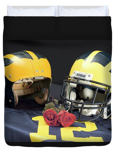 Helmets Of Different Eras With Jersey And Roses Duvet Cover