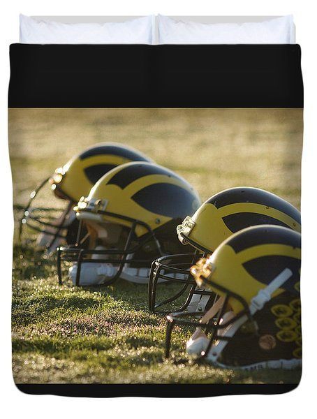 Helmets On The Field At Dawn Duvet Cover