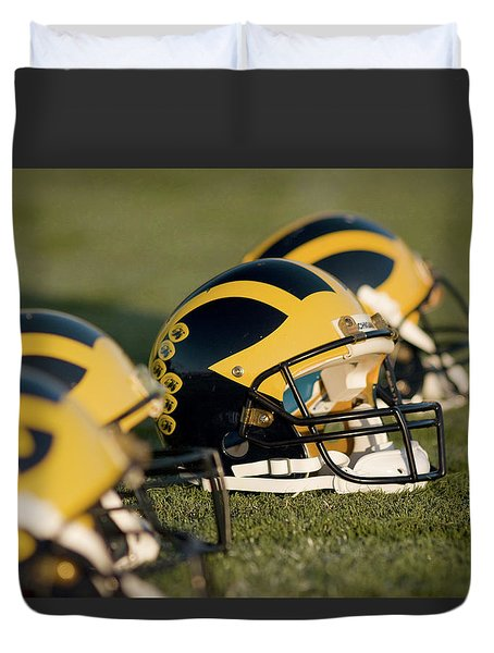 Helmets On The Field Duvet Cover